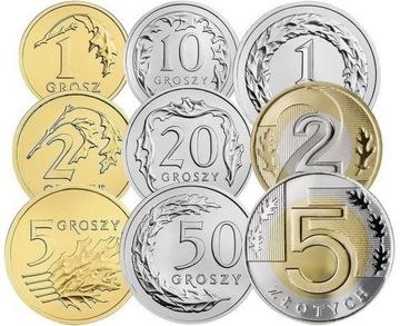 Комплект циркуляционных монет 2016 года. UNC 9 шт доставка товаров из Польши и Allegro на русском