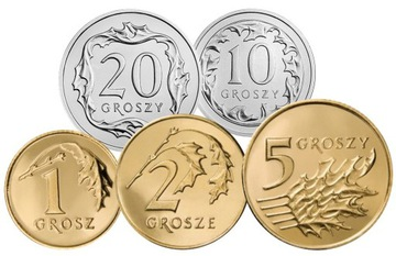 Комплект циркуляционных монет 2001 года. UNC 5 штук доставка товаров из Польши и Allegro на русском