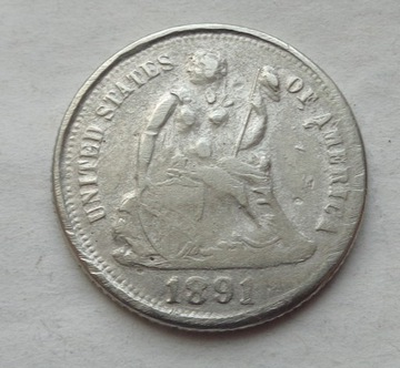 США ONE DIME - 10 ЦЕНТОВ - 1891 - СЕРЕБРО доставка товаров из Польши и Allegro на русском
