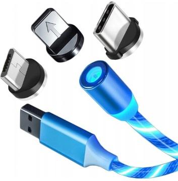 KABEL MAGNETYCZNY 3W1 ŚWIECĄCY IPHONE MICRO USB C доставка товаров из Польши и Allegro на русском