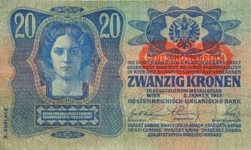 Австро-Венгрия - БАНКНОТЫ - 20 Крон 1913 Года С НАДПИСЬЮ доставка товаров из Польши и Allegro на русском