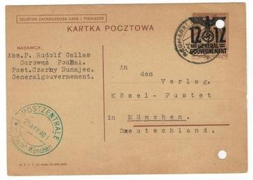 Polska GG 1940 Kartka Cp 4 I H Nowy Targ-Monachium доставка товаров из Польши и Allegro на русском