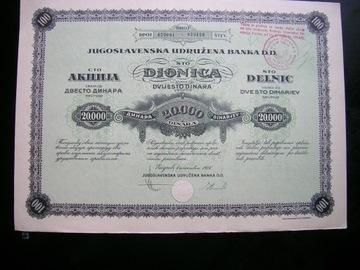 Jugoslavenska Udrużena Banka, akcja donica 20000 доставка товаров из Польши и Allegro на русском