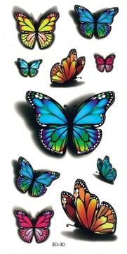 Tatuaże zmywalne dla dzieci MOTYLE 3D30