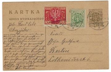 Польша 1923 Открытка Cp 40+Fi 115+136 Obrzyck-Берлин доставка товаров из Польши и Allegro на русском