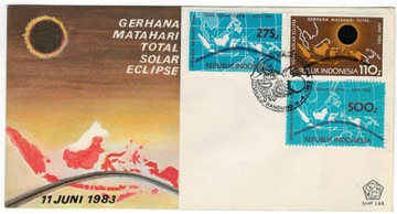 FDC Индонезия 1983 астрономия затмение Солнца доставка товаров из Польши и Allegro на русском
