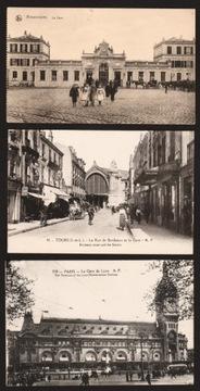 DWORCE KOLEJOWE FRANCJA. 6 SZT. 1915, 192-? доставка товаров из Польши и Allegro на русском