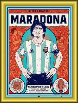 МАРАДОНА - Коллекционный Постер АРТ ПРЕМИУМ !!! доставка товаров из Польши и Allegro на русском