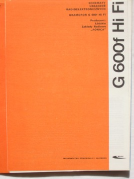 GRAMOFON G 600f Hi Fi INSTRUKCJA SERWISOWA доставка товаров из Польши и Allegro на русском