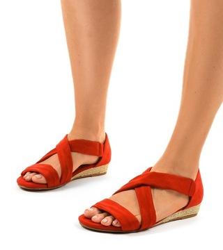 Красные босоножки замшевые ботинки женские 9R72 38 доставка товаров из Польши и Allegro на русском