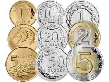 Комплект циркуляционных монет 2009 года. UNC 9 шт доставка товаров из Польши и Allegro на русском