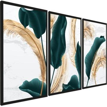 Современные картины, серия золотые листья, 3 шт доставка товаров из Польши и Allegro на русском