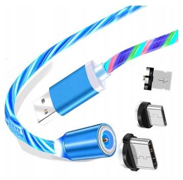 КАБЕЛЬ МАГНИТНЫЙ 3in1 IPHONE MICRO USB-C БЛЕСТЯЩИЙ доставка товаров из Польши и Allegro на русском