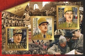 Ch. de Gaulle II wojna Benin ark. #BEN15-27 CIĘTY доставка товаров из Польши и Allegro на русском