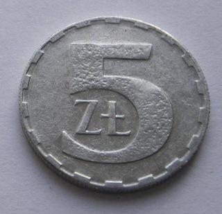 Destrukt menniczy płaski awers 5 zł 1990 z obiegu доставка товаров из Польши и Allegro на русском
