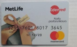 Подарочный сертификат - MetLife - Edernet - mastercard доставка товаров из Польши и Allegro на русском
