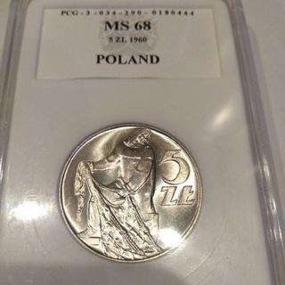 5 ZŁ 1960 r RYBAK PCG MS 68 MENNICZY RZADSZY доставка товаров из Польши и Allegro на русском