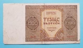 1000 złotych 1945r. Seria A доставка товаров из Польши и Allegro на русском