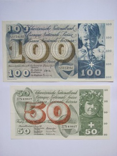 Szwajcaria - 50 franków 1969 + 100 franków 1965 доставка товаров из Польши и Allegro на русском