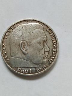 5 МАРОК ГИНДЕНБУРГ 1936 МОНЕТНЫЙ ДВОР J доставка товаров из Польши и Allegro на русском