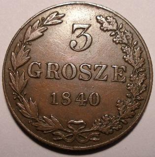 KRÓLESTWO POLSKIE 3 grosze 1840, SUPER STAN доставка товаров из Польши и Allegro на русском