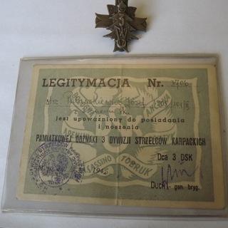 Odznaka 3 Dywizji Strzelców Karpackich + Legitym. доставка товаров из Польши и Allegro на русском