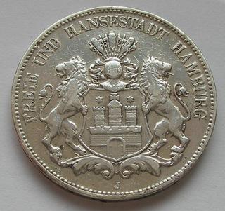 5 марок 1903 / J Hamburg - серебро  доставка товаров из Польши и Allegro на русском