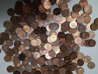 около 1 кг - монеты тиражом 2 евроцента  доставка товаров из Польши и Allegro на русском