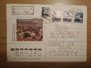 Использованный конверт Литва  доставка товаров из Польши и Allegro на русском