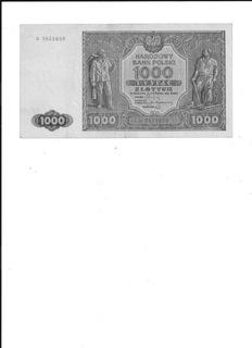 Banknot 1000 zł 1946r D stan zach. II+ доставка товаров из Польши и Allegro на русском