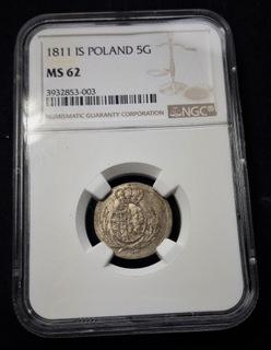 5 groszy 1811 IS, wybite na 1/24 talara, NGC MS62 доставка товаров из Польши и Allegro на русском