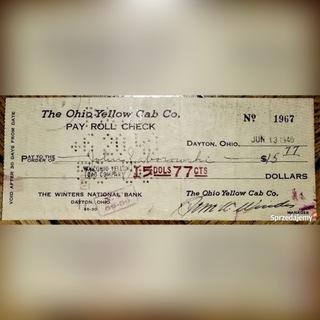 Check Чек США 1940 года The Ohio Yellow Cab Уинтерс доставка товаров из Польши и Allegro на русском