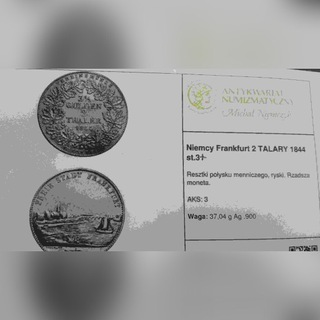 2 талера серебро ФРАНКФУРТА-1843 доставка товаров из Польши и Allegro на русском