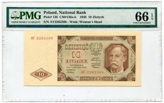 10 złotych 1948  PMG 66 EPQ доставка товаров из Польши и Allegro на русском