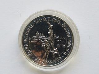 Malta - 5 liras 1990 , st. zwykły,   Jan Paweł II доставка товаров из Польши и Allegro на русском