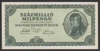 Венгрия 100 000 000 pengo 1946 - состояние банковское-UNC доставка товаров из Польши и Allegro на русском