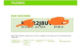 FLIXBUS Voucher na 67,98zł, ważny 12 miesięcy. доставка товаров из Польши и Allegro на русском