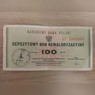 Depozytowy bon rewaloryzacyjny 100 zł - dwie szt доставка товаров из Польши и Allegro на русском
