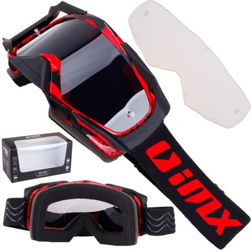 IMX DUST RED BLACK MATT GOGLE CROSS ENDURO 2 СТЕКЛО