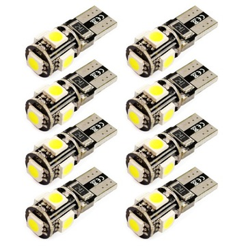 8X ЛАМПОЧКА W5W T10 5 DIOD LED SMD CANBUS CAN BUS