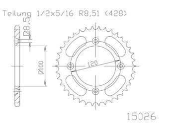 WRP zębatka tył YZ 80/85 93-.., RM 80/85 (stal JT)