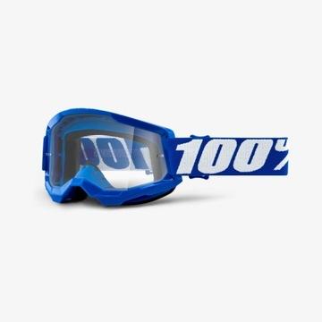 Gogle 100% Strata 2 Blue niebieskie białe napisy