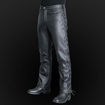 Skórzane spodnie motocyklowe sznurowane