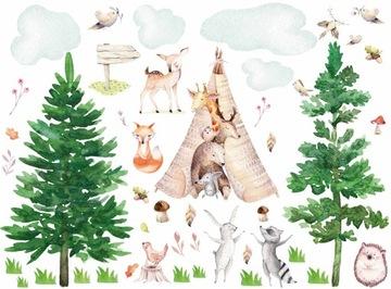 Zvieracie samolepky na stenu - zvieratá v lese