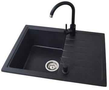 Granitový kuchynský drez béžový, čierny drez + vaňa + dóza + dúšok