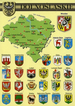 Dolné Sliezske vojvodstvo Mapa Herby WR802 10 Položky