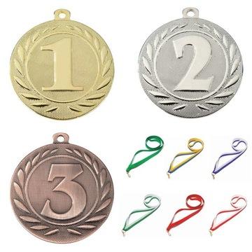 Medalová zlatá farba I-III Place 50mm + Stuha | NOVÉ