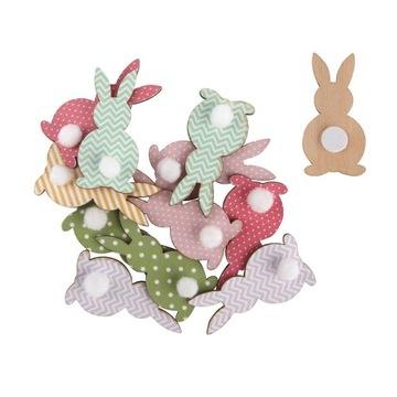Veľkonočné ozdoby, drevené zajačiky, sada 12 ks