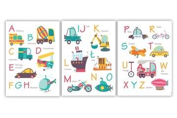 ALPHABET, vzdelávacie plagáty AUTA / VOZIDLÁ, formát A4