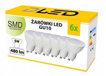 6x LED žiarovka GU10 2835 480lm 50W 5W 230V halogén